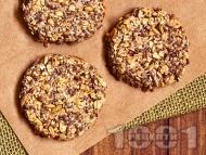 Рецепта Домашни протеинови бисквити с овесени ядки без захар и без масло, с извара, чиа, мед и канела
